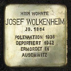 Photo of Josef Wolkenheim brass plaque