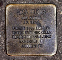 Photo of Rosa Fuchs brass plaque