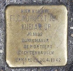 Photo of Norbert Kubiak brass plaque
