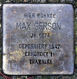 Photo of Max Gerson brass plaque