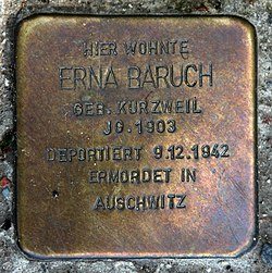 Photo of Erna Baruch brass plaque