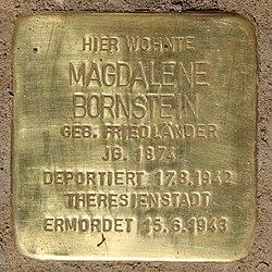 Photo of Magdalene Bornstein brass plaque