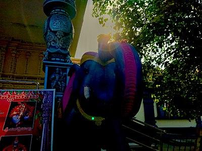 Sun on Elephant statue's trunk at Penuganchiprolu Temple 5.jpg