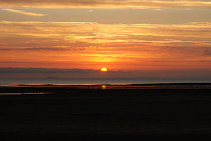 Bristol Channel -  Sunrise looking north east up the channel from Minehead, showing Steep Holm and Brean Down