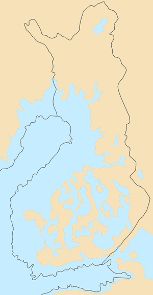 Post-glacial rebound - Much of modern Finland is former seabed or archipelago: illustrated are sea levels immediately after the last ice age.