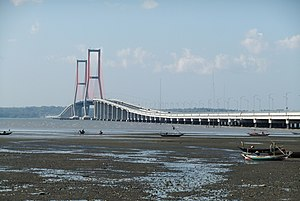 Suramadu Bridge - The bridge as seen from the Surabaya coast