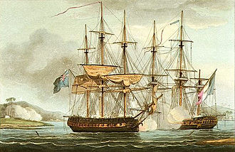 Battle of Mahé - HMS Sybille capturing the Chiffone off Mahé in the Seychelles