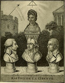 Contemporary print showing Lyon Jacobin Joseph Chalier as a martyr for Liberty, together with Marat and Le Peletier de St Fargeau (all assassinated in 1793)
