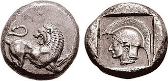 Miltiades - Coinage of Miltiades in Thracian Chersonesos. Lion, head left, raising left forepaw, tail curled above. Head of Athena, wearing crested Attic helmet and earring, within incuse square. Circa 495-494 BC.