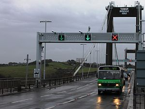 Tamar Bridge - Traffic on the Tamar Bridge uses a tidal flow arrangement to reduce rush-hour congestion