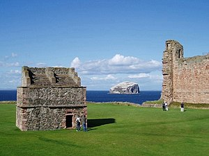 Tantallon Castle Doocot with Bass Rock beyond - geograph.org.uk - 228925.jpg