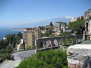 Mount Etna seen from the town of Taormina.
