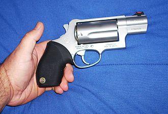 Taurus Judge - Taurus Public Defender revolver, detailing the shortened hammer and snub-nose barrel