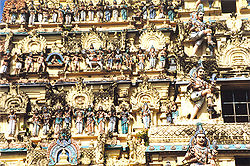 Detail from a temple in Chidambaram. The Tamil kings were patrons of the arts, and built many ornate temples.