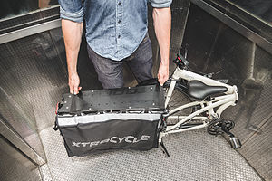 Tern (company) - The Tern-Xtracycle Cargo Node folding cargo bike can fit in elevators and stores in places traditional cargo bikes usually can't.