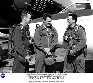Joseph A. Walker - Walker with his fellow test pilots Butchart (center) and Jones, 1952