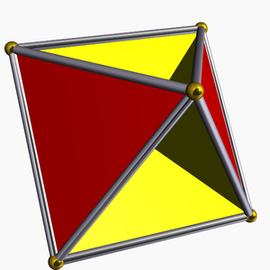 Real projective plane - The tetrahemihexahedron is a polyhedral representation of the real projective plane.