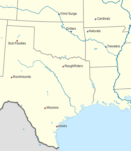Texas League Wikipedia - Map of us pro sports teams