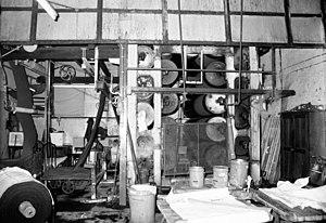 Finishing (textiles) - Textile finishing machinery, Red Bridge Mills, Ainsworth, 1983