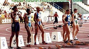 Marion Jones - Marion Jones (far left) during the 1999 World Championships