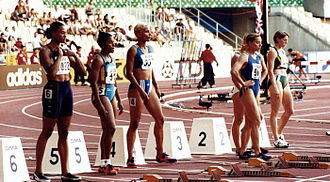 Marion Jones - Marion Jones (far left) during the 1999 World Championships