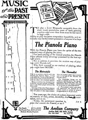 Aeolian Company - An advertisement for the Aeolian Company from the October 26, 1908, edition of The New York Times.