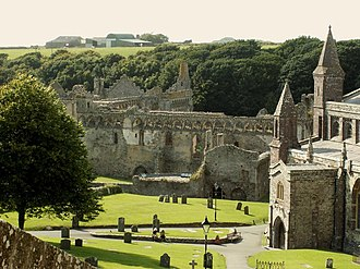St Davids Bishops Palace - Bishops Palace and St Davids Cathedral viewed from the gateway