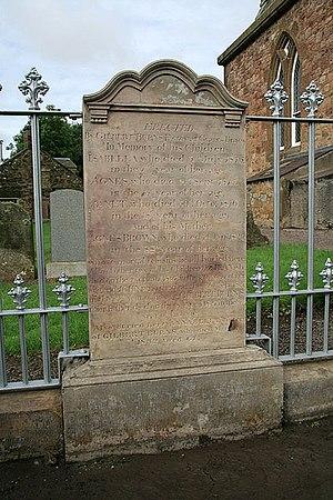 Agnes Broun - Agnes Broun's headstone at Bolton Kirkyard