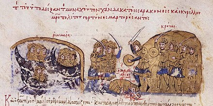 The Byzantines under the general Damian attack Crete but are defeated by the Saracens, c. 828, as depicted by Ioannes Scylitzes (see Skylitzes Chronicle). The Cretan Saracens defeat the Byzantines under Damianos.jpg