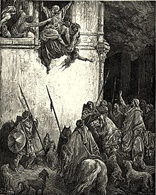 Engraving of Jezebel being thrown out of a window to waiting mounted troops and dogs