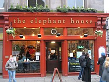 """The Elephant House"", a small, painted red café where Rowling wrote a few chapters of Harry Potter and the Philosopher's Stone"