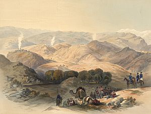 1842 retreat from Kabul - The Grove and Valley of Jugdulluk where Elphinstone's Army made its last stand in the calamitous retreat; January 1842. As drawn on the spot by James Rattray.