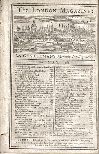 The London Magazine - Cover of the issue for May, 1760