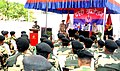 The Minister of State for Home Affairs, Shri Hansraj Gangaram Ahir addressing the Border Security Force (BSF) troops, during his visit to the Ramgarh sector along Indo-Pak International Border, in Jammu and Kashmir.jpg