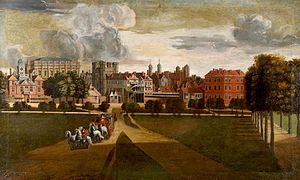Holbein Gate - Image: The Old Palace of Whitehall by Hendrik Danckerts