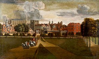 "Palace of Whitehall - The Old Palace of Whitehall by Hendrick Danckerts, c. 1675. The view is from the west, in St. James's Park. The Horse Guards barracks are on the extreme left, with the taller Banqueting House behind it. The four-towered building left of centre is the palace gatehouse, the ""Holbein Gate""."