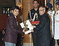 The President, Shri Pranab Mukherjee presenting the Arjuna Award for the year-2014 to Shri Abhishek Verma for Archery, in a glittering ceremony, at Rashtrapati Bhavan, in New Delhi on August 29, 2014.jpg