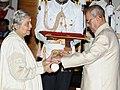 The President, Shri Pranab Mukherjee presenting the Padma Bhushan Award to Smt. Indu Jain, at a Civil Investiture Ceremony, at Rashtrapati Bhavan, in New Delhi on April 12, 2016.jpg