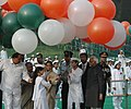 The President, Smt. Pratibha Devisingh Patil releasing the tricolour balloons on the occasion 118th birth anniversary of former Prime Minister, Pandit Jawaharlal Nehru at Shantivan, in Delhi on November 14, 2007.jpg