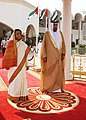 The President, Smt. Pratibha Devisingh Patil with the President of UAE, Sheikh Khalifa bin Zayed Al Nahayan at the Ceremonial Reception, at Mushrif Palace, in Abu Dhabi on November 22, 2010.jpg