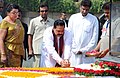 The President of Sri Lanka, Mr. Mahinda Rajapaksa paying floral tributes at the Samadhi of Mahatma Gandhi, at Rajghat, in Delhi on June 09, 2010.jpg
