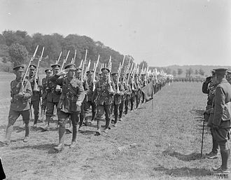 Royal Sussex Regiment - Men of the 2nd Battalion, Royal Sussex Regiment marching past Prince Arthur, Duke of Connaught, near Bruay, France, 1 July 1918.