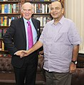 The Secretary of State for Business, Innovation and Skills, UK, Mr. Vince Cable calling on the Union Minister for Finance, Corporate Affairs and Defence, Shri Arun Jaitley, in New Delhi on October 10, 2014.jpg