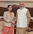 The Secretary of State for International Development, United Kingdom, Ms. Priti Patel calling on the Prime Minister, Shri Narendra Modi, in New Delhi on August 13, 2016.jpg