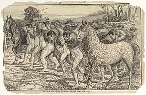 Yahoo (Gulliver's Travels) - The Servants Drive a Herd of Yahoos into the Field by Louis John Rhead, Metropolitan Museum of Art