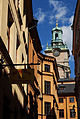 The Tower Of Storkyrkan Cathedral seen from Stora Gråmunkegränd. Sweden, Northern Europe.jpg