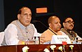 The Union Home Minister, Shri Rajnath Singh addressing a press conference, in Lucknow, Uttar Pradesh on May 29, 2018. The Chief Minister of Uttar Pradesh, Yogi Adityanath is also seen.JPG