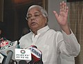 The Union Minister for Railways, Shri Lalu Prasad making an appeal to the Nation for liberal contribution of relief materials for the Bihar flood-affected victims, in New Delhi on September 03, 2008.jpg