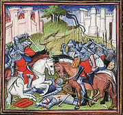 a colourful image of mounted knights in close-quarters combat.