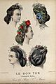 The heads of five women with braided hair dressed with flowe Wellcome V0019878ER.jpg